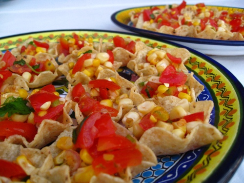 Creole Roasted Corn-Tomato Salsa and Chips