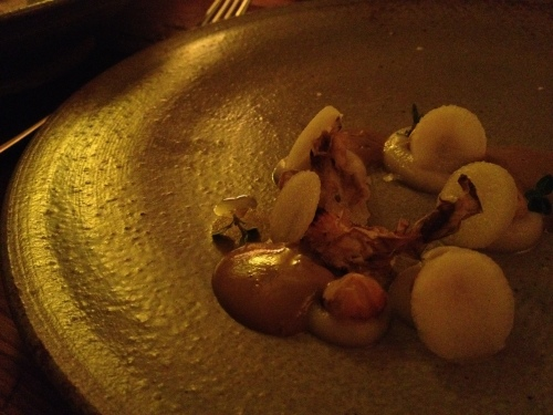Burnt hazelnuts, sunchoke skin and beef liver puree