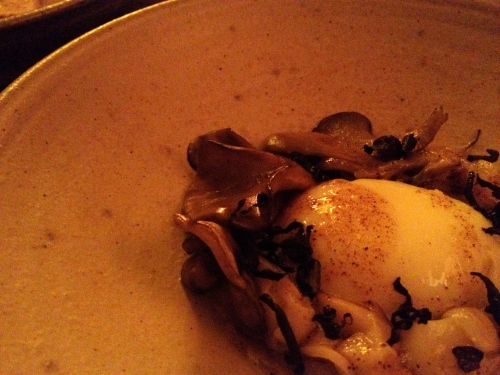Soft poached egg, scallop, hen of the woods mushroom, cauliflower puree