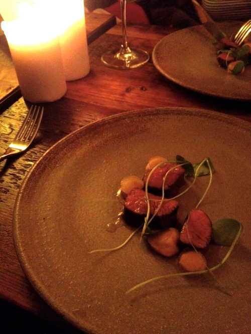 Beef cooked in hay with rutabaga and apple cider gelee