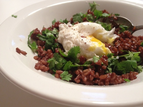 Poached Egg Over Bhutanese Red Rice