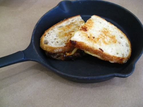 "French Onion ""Soup"" Grilled and Fig-Smoke Gouda Grilled Cheese Halves"