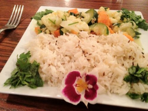 Coconut Curried Vegetables and Jasmine Rice with Cumin Seeds