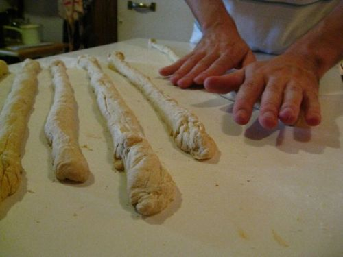 Roll and rest the pretzel dough