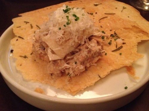 Buttermilk cracker with roasted chanterelles and pecorino