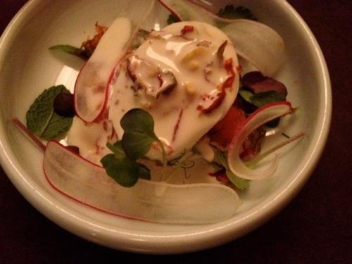 King salmon 7-min deviled egg with pickled radish and horseradish creme fraiche