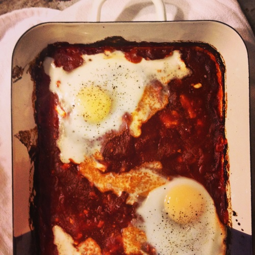 Baked Eggs in Spicy Tomato Sauce